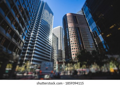 Straßen von San-Francisco, Finanzviertel in der Innenstadt, Kalifornien, Vereinigte Staaten schöne, sonnige Aussicht