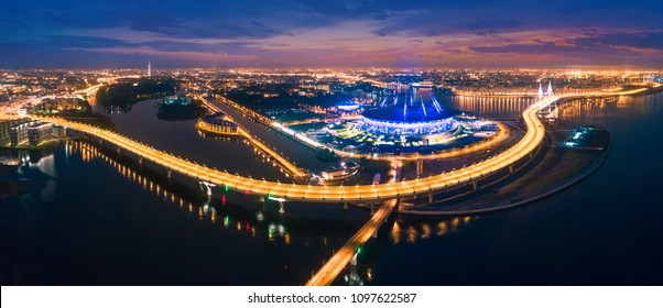 Streets of St. Petersburg from a height. Beautiful aerial view from the bird's eye view of the Gulf of Finland, Saint-Petersburg, Russia, with a stadium.  Krestovsky Island.