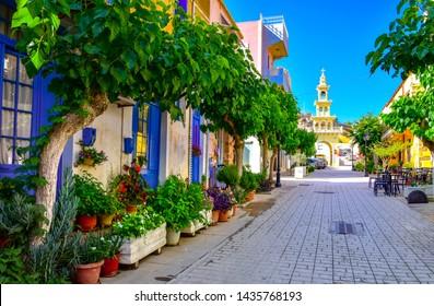 Streets of traditional village of Paleochora, Crete, Greece on June 25, 2019.