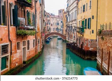 Streets of venice on a rainy day. Venice. Veneto. Italy.