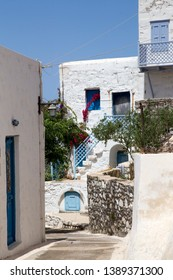The streets and White Greek houses in Astypalaia Greece.