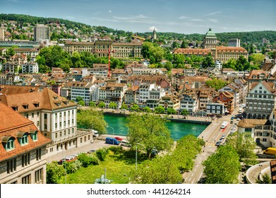 Streets of Zurich (Switzerland) with the river Limmat and the main buildings of the university and the Swiss Federal Institute of Technology (ETH) in the background, HDR-technique