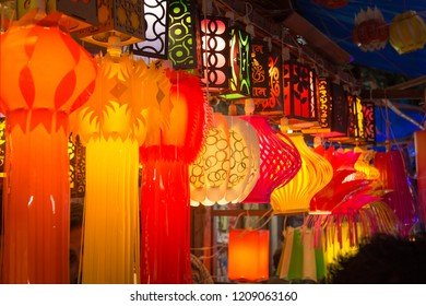 A streetside shop selling traditional lanterns before Diwali festival in India.