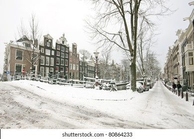 Streetview from snowy Amsterdam in the Netherlands