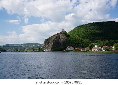 Strekov Castle, German: Schreckenstein, is perched atop a cliff above the River Elbe, near the city of Usti nad Labem in the Czech Republic.