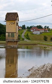 strengberg, austria, 10 june 2013, tranformer building in a riverside landscape after a big flood at the danube river