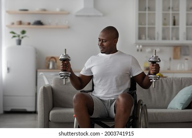 Strength training for muscles, health care, exercise at home, covid-19 pandemic. Smiling mature african american man disabled in wheelchair raises dumbbells in living room interior, empty space