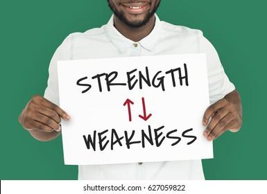 Strength Weakness Arrow Up Down Word