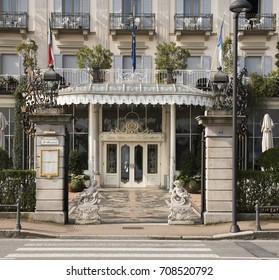 STRESA, Italy - APRIL 10th 2015 Entrance of an old english luxury hotel in Stresa on the lake of Maggiore in the North part of Italy