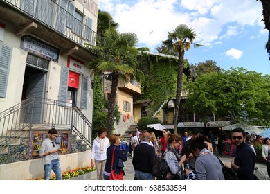 Stresa, Italy - April, 16, 2017: Tourists visit  Isola Bella