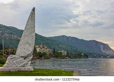 Stresa, Italy - June 15, 2018: Maggiore lake, Stresa town monument.