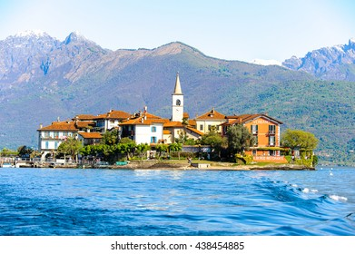 STRESA, ITALY - MAY 3, 2016: Isola Pescatori (Fishermen Island) on the  Lago Maggiore (Big Lake), Piedmont, Italy. Lago Maggiore is the second largest lake in Italy