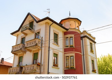 STRESA, ITALY - MAY 3, 2016: Architecture of Stresa, a town on the shores of Lake Maggiore, Verbano-Cusio-Ossola, Piedmont, Italy