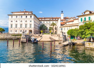 Stresa, Lake Maggiore, Italy, 05 July 2017. View of Renaissance palace Borromee; located in Stresa, on Lake Maggiore, Piedmont region, north Italy