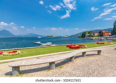 Stresa, Lake Maggiore, Italy, 05 July 2017. View of islands Borromee; located in Stresa, on Lake Maggiore, Piedmont region, north Italy