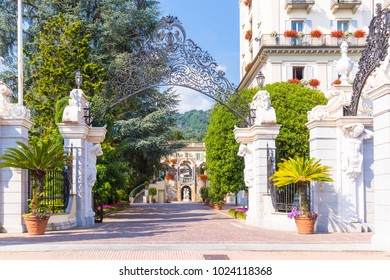 Stresa, Lake Maggiore, Italy, 05 July 2017. View of Grand Hotel Des Iles Borromees, located in Stresa, little town on Lake Maggiore, Piedmont, Italy