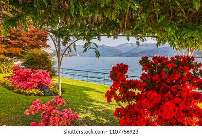 Stresa, Maggiore lake view, embankment, Italy, Lombardy