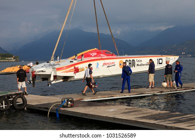 Stresa (VCO), Italy - October 04, 2009: A racing boat at World Offshore Powerboat Championship, Stresa, VCO, Piedmont, Italy.