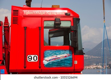 Stresa (VCO), Italy - October 04, 2009: A painted truck door at World Offshore Powerboat Championship, Stresa, VCO, Piedmont, Italy.