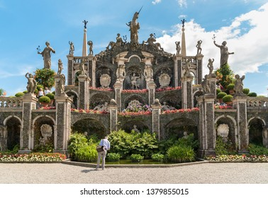 Stresa, Verbania, Italy - July 28, 2016: People visiting park garden of island Bella or Isola Bella, is one of the Borromean Islands of Lake Maggiore in Piedmont of north Italy