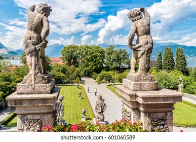 Stresa, Verbania, Italy - July 28, 2016: Baroque garden of island Bella - isola Bella, is  one of the Borromean Islands of Lake Maggiore in Piedmont of north Italy.