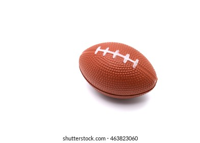 Stress ball, american football toy isolated on white background.
