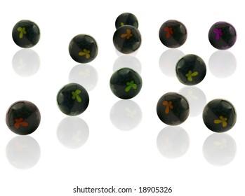 Stress balls on white background