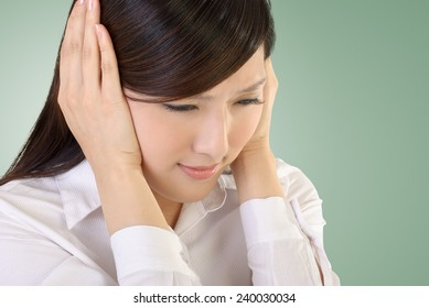 Stress of business woman image with Asian beauty portrait.