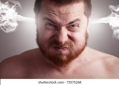 Stress concept. Angry upset stressed man with head pressure