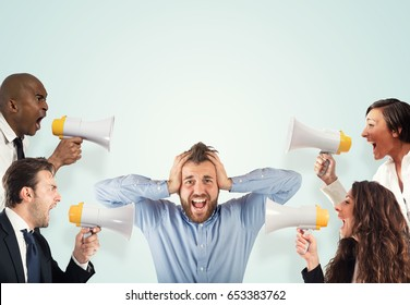 Stress concept with screaming colleagues
