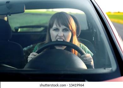 stress girl in a car