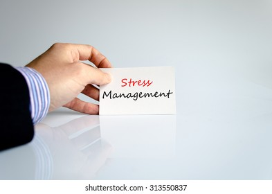 Stress management text concept isolated over white background