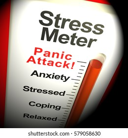 Stress Meter Thermometer Showing  Panic Attack From Stressing 3d Rendering