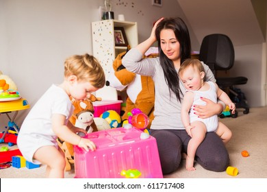 Stress mom  with children