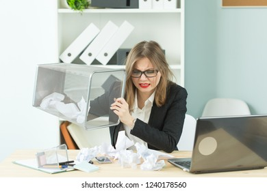 Stress, office, hysteric, people concept - aggressive woman with a lot of work in office laugh because of hysteric
