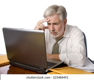 Stress Out Businessman With Laptop/ Horizontal Shot On White Background