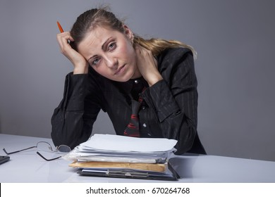 Stress for professional burnout. Portrait of exhausted and tired business woman in the office (Depression, sadness, problems, difficulties concept)