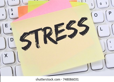 Stress stressed burnout at work relaxed note paper business concept keyboard