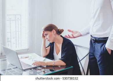 stress at work, emotional pressure, angry boss and tired unhappy woman employee