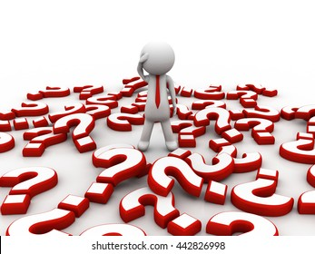 Stressed 3d man sitting amongst red question marks