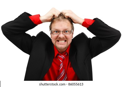 Stressed angry man pulling his own hair
