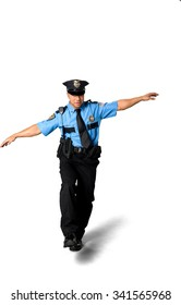 Stressed Asian man with short black hair in uniform with arms open - Isolated
