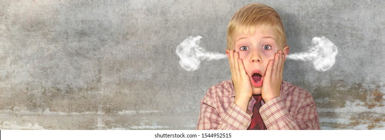a stressed boy slaps his hands in front of his face, smoke comes out of his ears