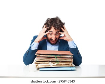 stressed businessman with files