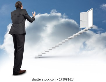 Stressed businessman gesturing against steps leading to open door in the sky