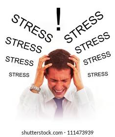 Stressed businessman with headache