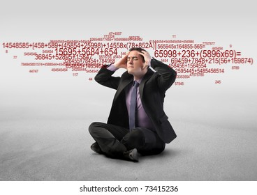 Stressed businessman with number sequences on the background