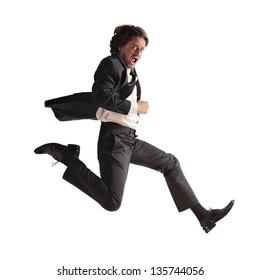 stressed businessman runs