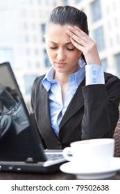 stressed businesswoman with a problem having headache