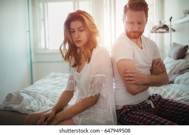Stressed couple arguing and having marriage problems
